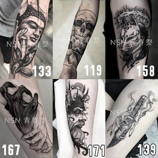 纹身贴防水男女韩国持久ins风暗黑花臂身体彩绘不永久纹身贴纸1