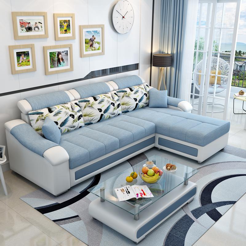 新款布艺沙发简约现代小户型三人位贵妃沙发拆洗客厅整装组合沙发