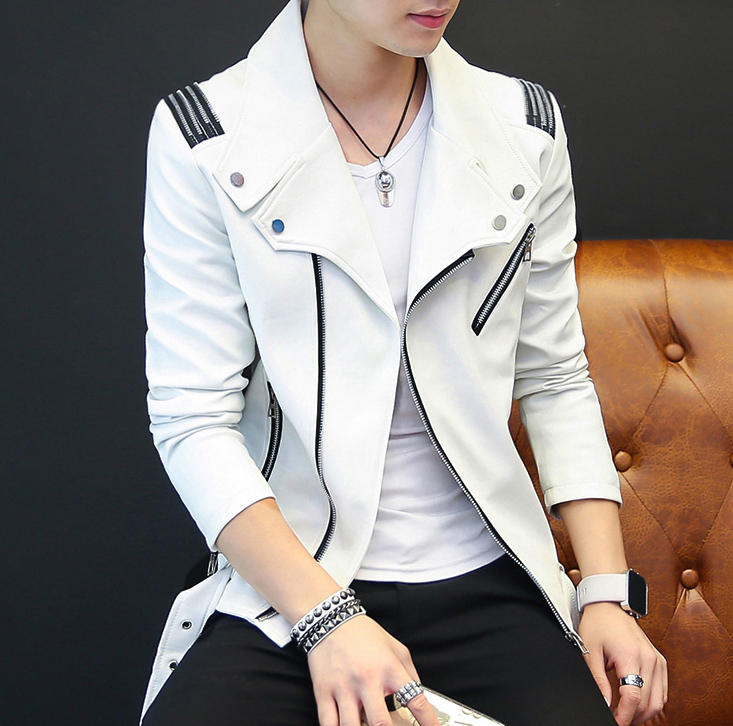 Leather clothing mens fashion 2021 motorcycle clothing youth slim Korean top handsome spring and autumn leather jacket mens fashion
