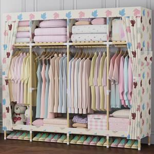 出租房用衣柜简易成人组装牛津布家用双人经济型布艺实木质挂衣橱