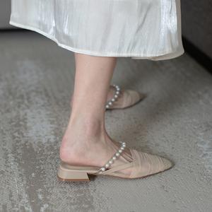 鹿与奈良时尚百搭外穿包头珍珠凉鞋