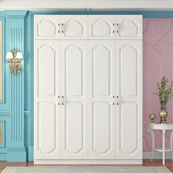 北欧现代简约儿童衣柜简易组装四门经济型实木欧式衣橱出租房柜子