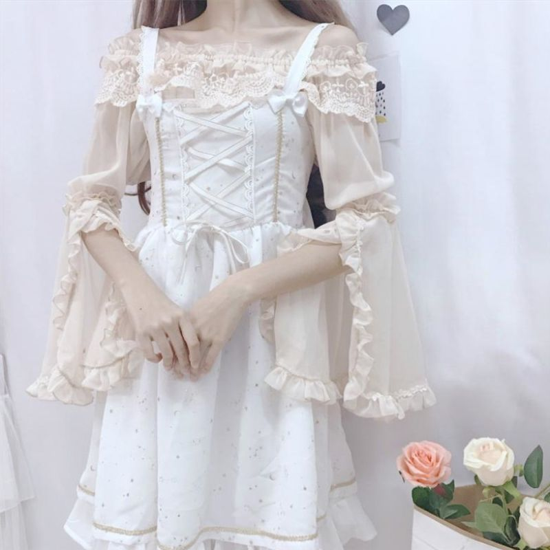 Soft girl Lolita, with one word shoulder sleeves and Lace Chiffon Blouse on the bottom, is a lovely blouse for girls in spring and summer
