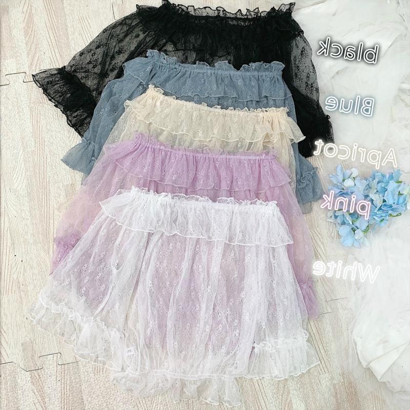 夏日系软妹洛丽塔jsk裙lolita内搭荷叶边喇叭袖蕾丝网纱罩衫上衣