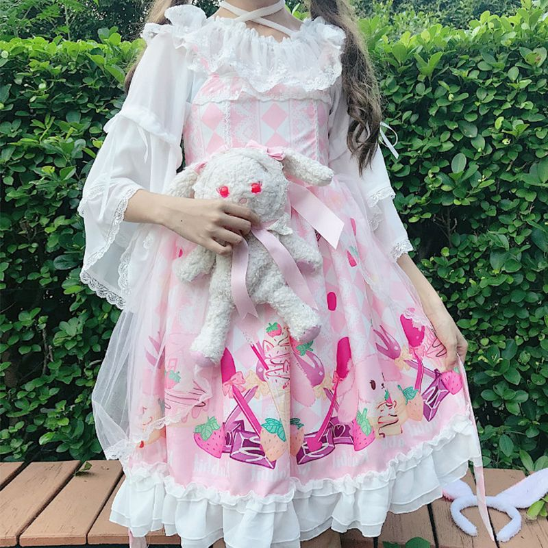 2020 new spring soft girl, Japanese Lolita, with one word shoulder hanging neck, chiffon bottoming blouse, female