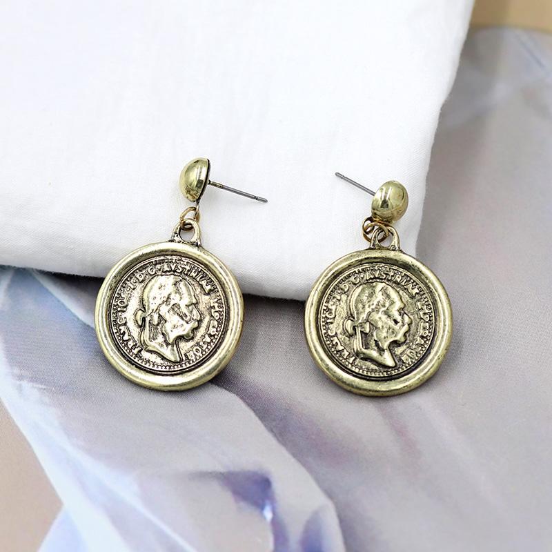 欧美时尚复古人像耳钉钱币硬币合金几何耳环个性耳坠无耳洞耳夹女