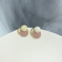S925银针 温柔复古风琥珀纹耳环女韩国个性几何耳钉法式耳饰C120