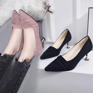 小跟单鞋女6cm猫跟高跟鞋女2019新款尖头细跟粉紫色伴娘鞋上班鞋