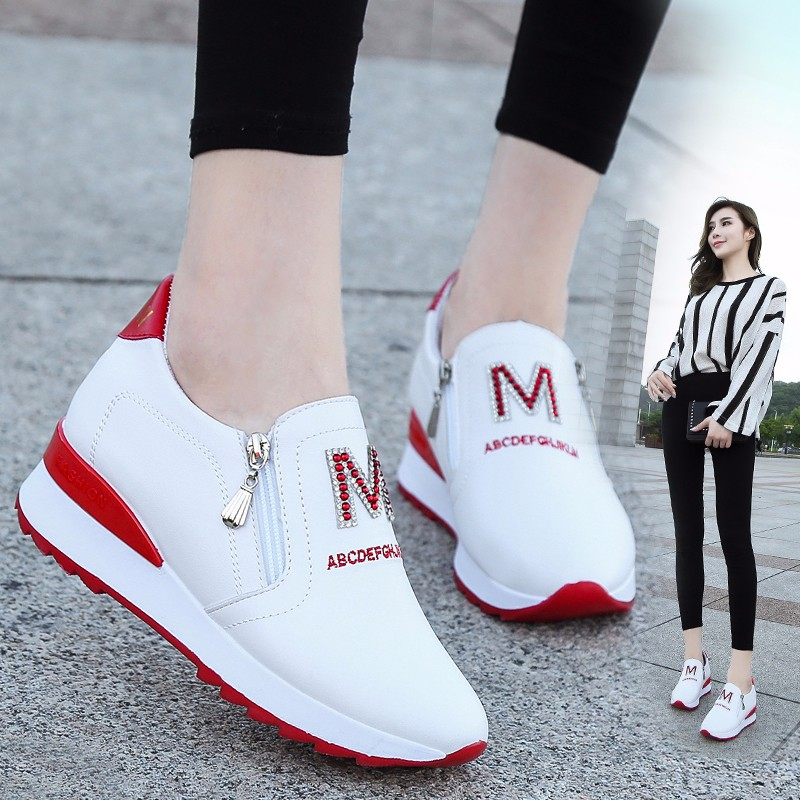 Net red chic sports small white shoes Korean side zipper womens shoes autumn and winter new anti slip inner heightening student shoes