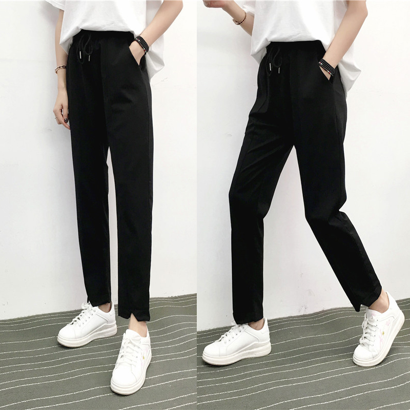 Suit straight tube 9-point pants 220 kg fat mm loose feet oversized fashion student girl high waist 9-point pants