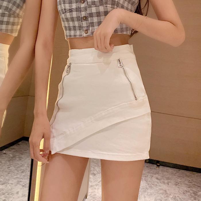 裙子女2019夏季新款韩国显瘦高腰气质拉链半身裙短裙网红包臀裙潮
