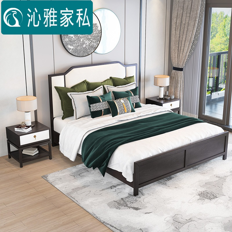 New Chinese ash wood solid wood double bed modern simple bed air pressure high box storage bed 1.8m 1.5m