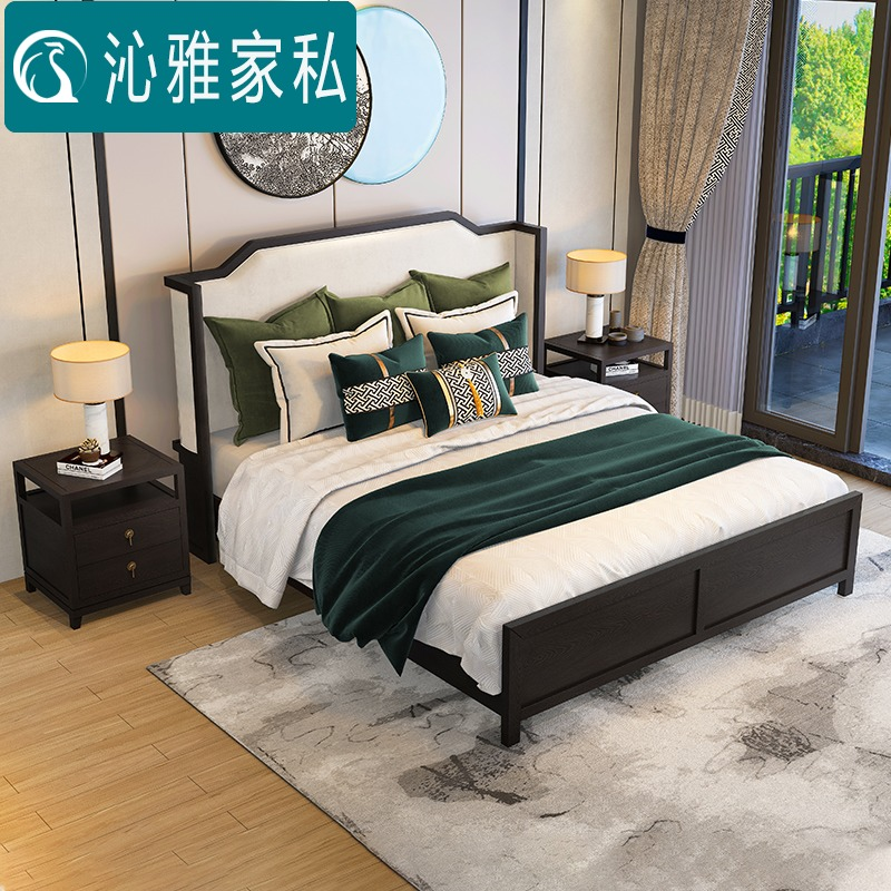 New Chinese ash wood solid wood double bed modern simple air pressure high box storage bed wedding bed 1.8m 1.5m