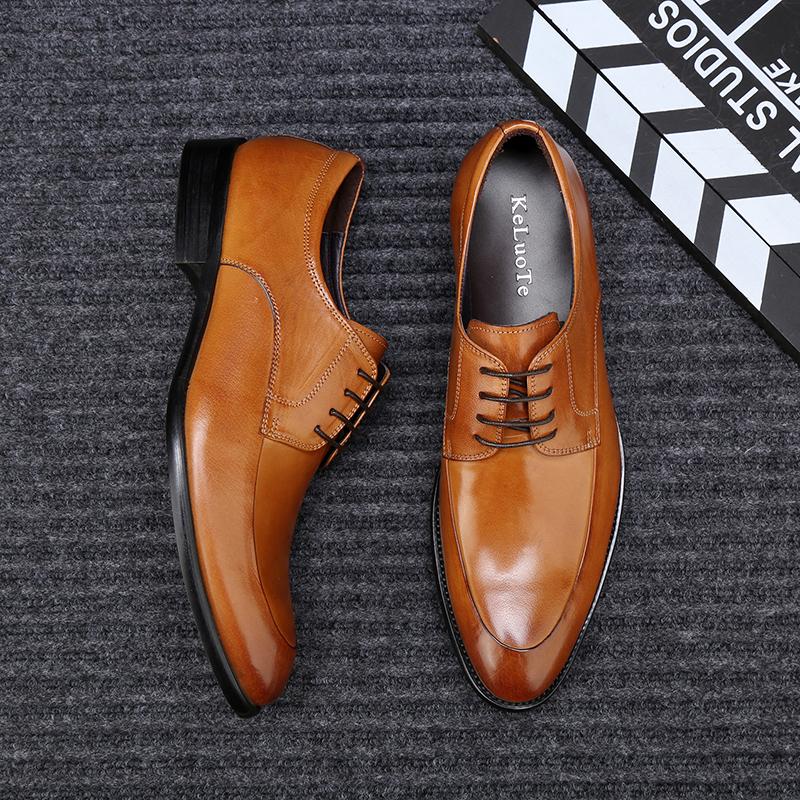 新款皮鞋男真皮尖头男士商务英伦休闲鞋头层牛皮青年棕色系带男鞋