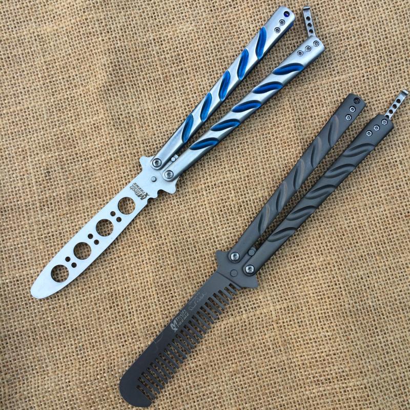 蝴蝶刀手甩刀未开刃练习刀蓝钛灰钛弹簧无刃极光练习工具军刀防身