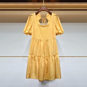 蒂卓雅法式泡泡袖连衣裙女夏季甜美韩娃娃宽松系带露背学院风