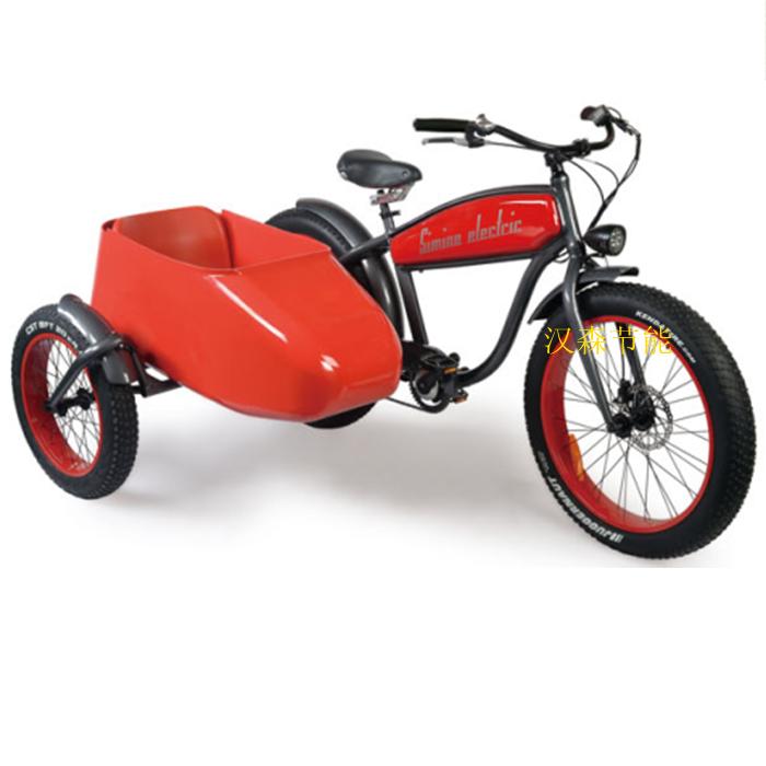 复古雪地胎电动边三轮摩托车偏三轮侉子4.助动边斗三轮沙滩自行车