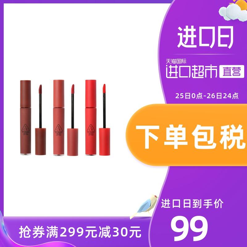 【直营】韩国进口3CE丝绒唇釉哑光雾面口红唇彩滋润4g图片
