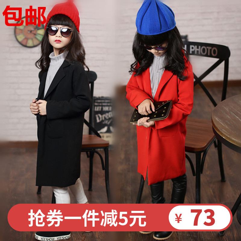 女童秋装西服外套宝宝中长款大红色黑色西装翻领单排扣风衣大衣