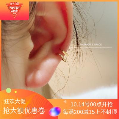 高级感首尔k金纯10k/14k金黄金韩国耳扣时尚迷你光面切面耳骨环单