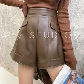 Zy春季新款韩版白搭显瘦直筒短裤女气质显瘦纯色宽松高腰羊皮皮裤