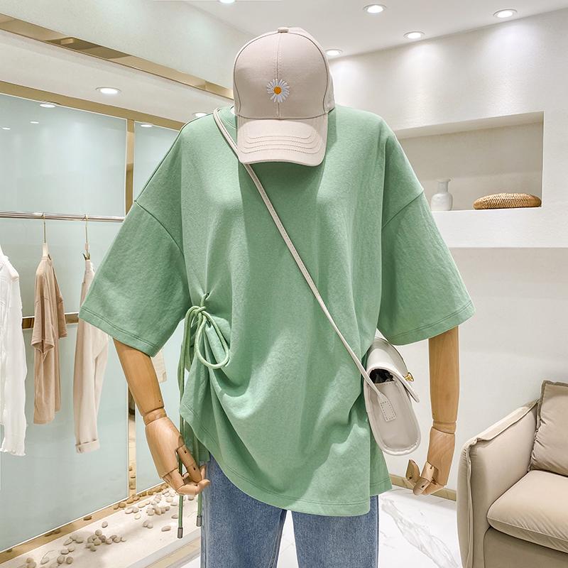 實拍#2020春夏季寬松上衣設計感側開叉抽繩褶皺套頭短袖休閑T恤女