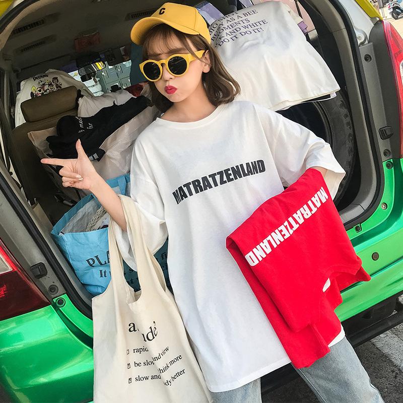 实价实拍 已检测 网红港风大版中长款前后印花宽松ins短袖t恤女