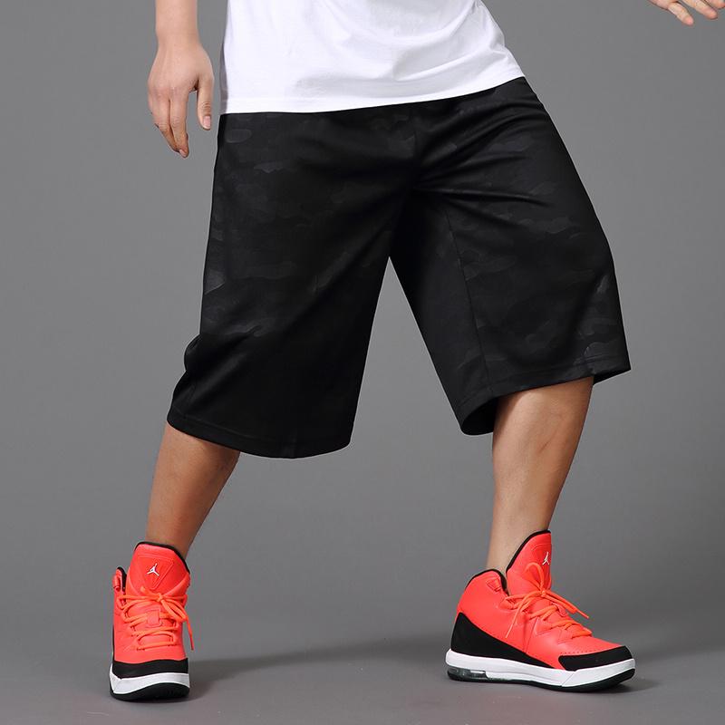 潮流加肥加大码男装运动七分裤暗迷彩嘻哈街头运动短裤宽松篮球裤