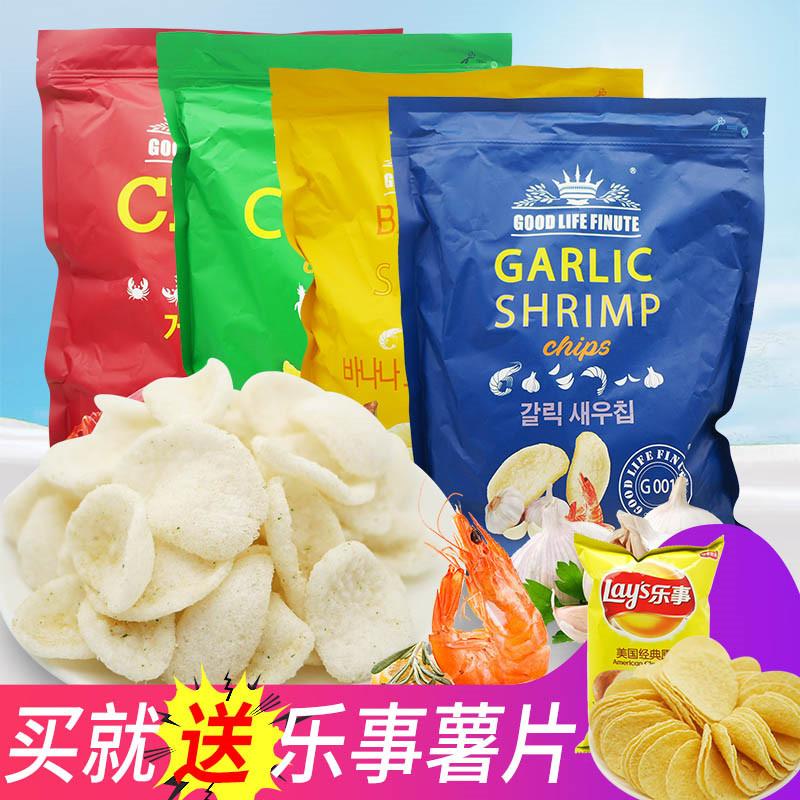 趣莱福虾片蒜味韩国大包玉米薯片大包装巨型抱抱虾趣来福网红零食