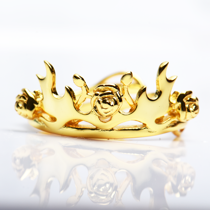 Cherry painting square song of ice and fire power game original little rose antler crown ring female 925 Silver