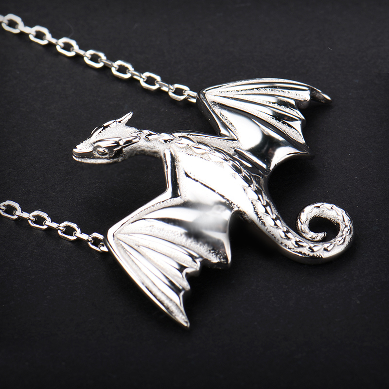 Cherry painting square song of ice and fire power game Dragon Necklace dragon clavicle chain original 925 silver gold