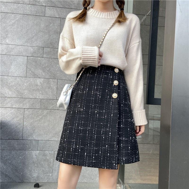适合胯大腿粗的裙子大码半身裙秋冬高腰显瘦毛呢短裙不规则a字裙