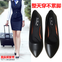 Soft leather comfortable work shoes women's black work clothes shoes thin heels and all kinds of high heels leather stewardess work shoes
