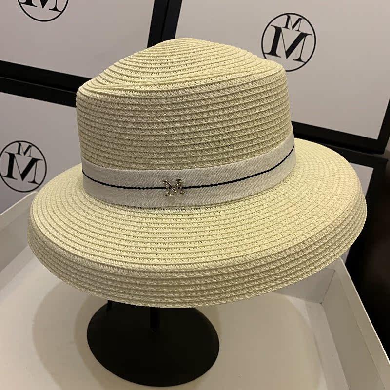 法式风情大檐帽赫本风钟形草帽优雅帽子女夏遮阳防晒沙滩帽太阳帽