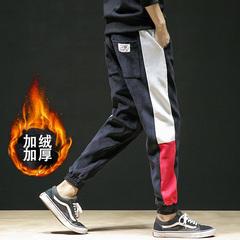 B221-K866加绒-P55 裤子男灯芯绒加厚休闲裤秋冬季新款束脚裤男