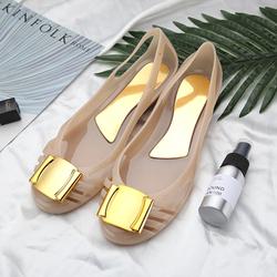 春夏新款果冻鞋水晶平底凉鞋内增沙滩鞋金属方扣坡跟塑胶雨鞋女鞋