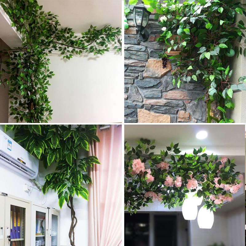 仿真榕树叶树枝管道空调水管绿植墙装饰叶子假树皮室内树藤蔓植物