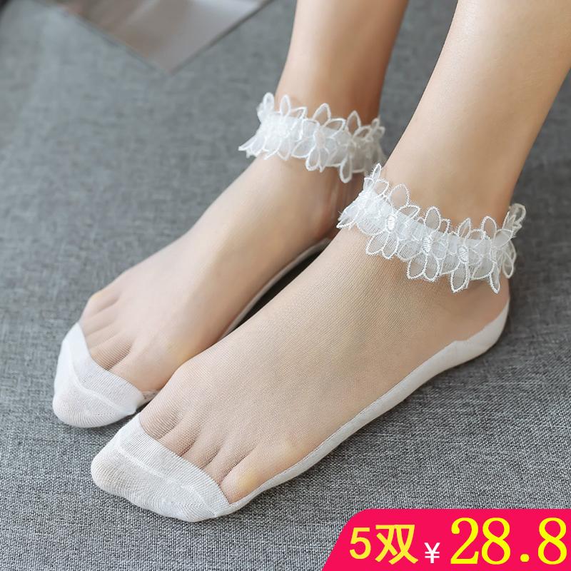5双装日系可爱袜子女船袜蕾丝花边水晶袜纯棉底玻璃丝袜薄款短袜