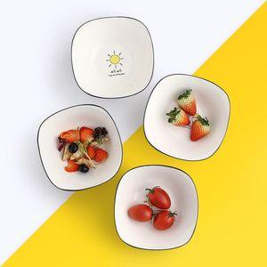 日式创意陶瓷餐具汤碗家用方形双皮奶碗单个糖水可爱沙拉碗米饭碗