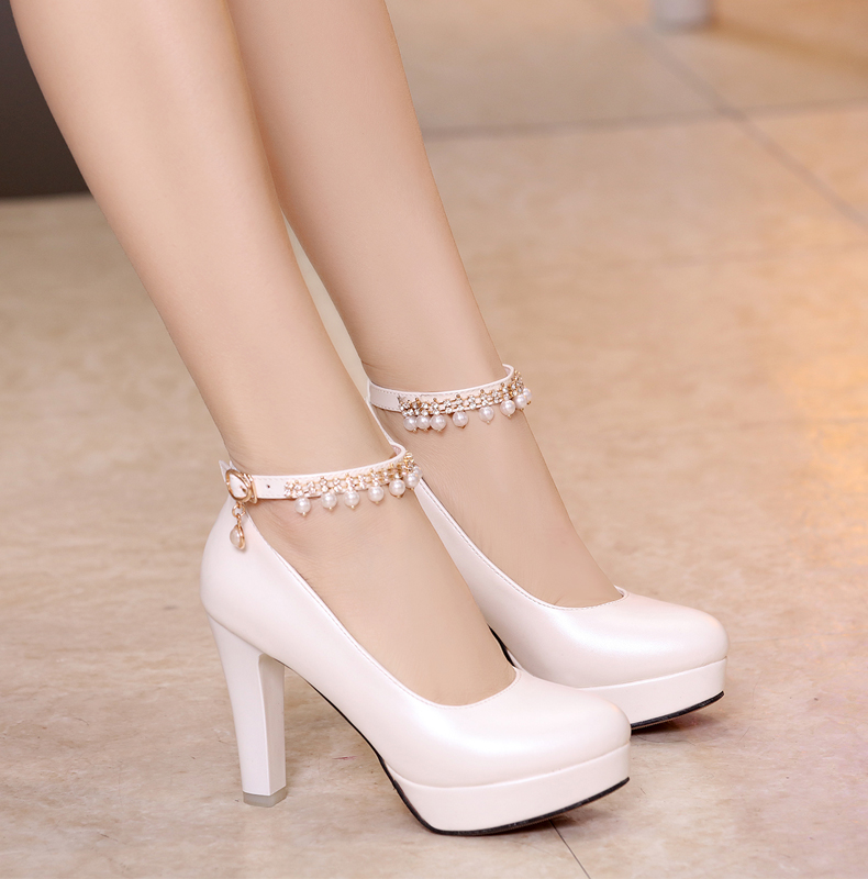 2019 spring and Autumn New Womens one button thick heel shoes womens shoes waterproof platform high heels sweet round head princess shoes