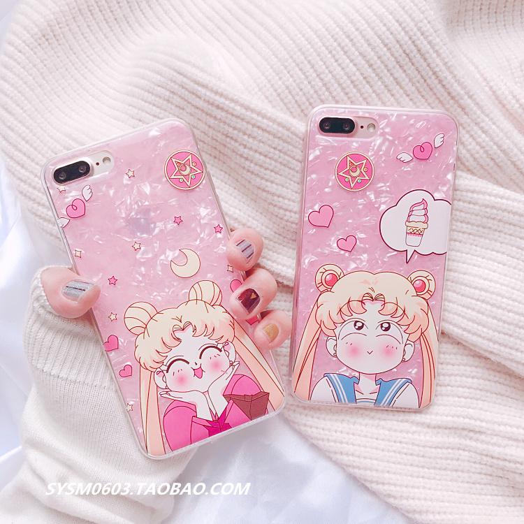 贝壳美少女战士苹果7plus手机壳iPhoneX全包硅胶软壳8p/6S仙女款