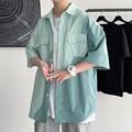 港风撞色短袖衬衫男韩版潮流宽松休闲半袖衬衣胖子夏季新薄款外套