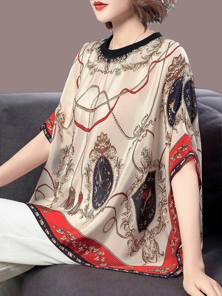 Silk shirt womens loose size summer fashion printing temperament round neck bat sleeve fairy top womens foreign style
