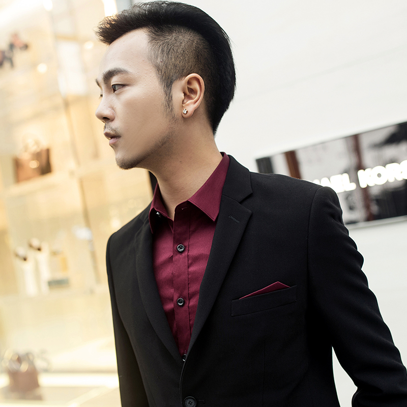 Spring and autumn slim Korean 14 black Lapel handsome business leisure youth marriage suit