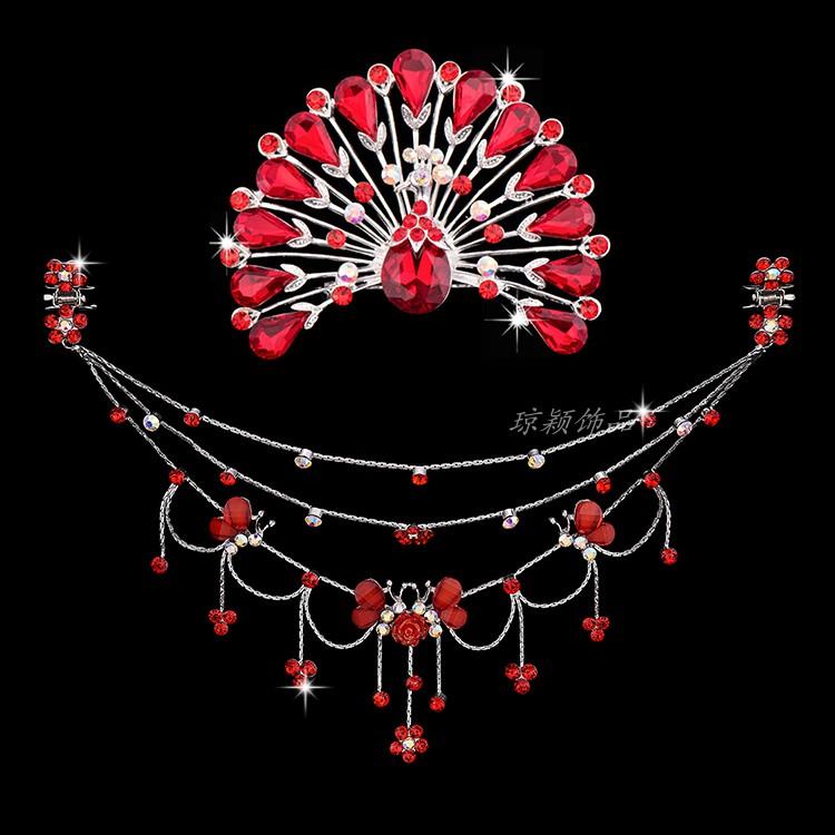 韩版女童额前头链儿童公主链舞蹈节目表演套装发饰水晶皇冠发卡