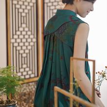 朱氏原创【江南梦】葡萄尼香云纱改良旗袍女无袖中长款连衣裙夏季