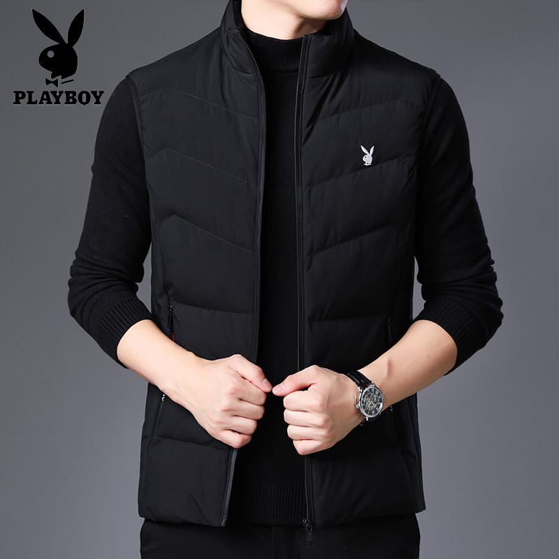 Playboy vest man spring autumn coat shoulder vest business casual stand collar sleeveless down cotton top man