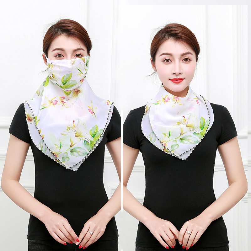 Summer variety sunscreen neck mask silk scarf one scarf cover face and ear mask Chiffon veil for women cycling