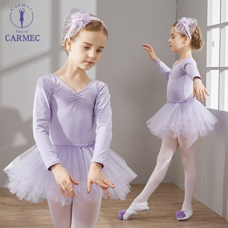 咔萌琪儿童舞蹈服秋冬女童长袖芭蕾舞练功服少儿表演服装幼儿跳舞