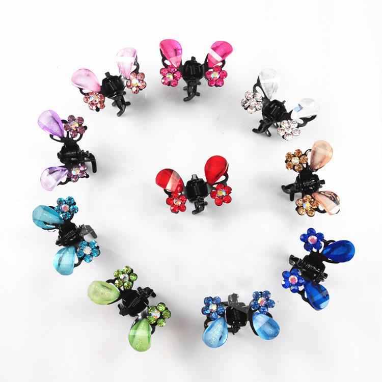 水晶の蝶の小さいつかみピンの子供の赤ちゃんは多彩に水のドリルのアクセサリの前髪のヘアピンのトップクリップを作ります。
